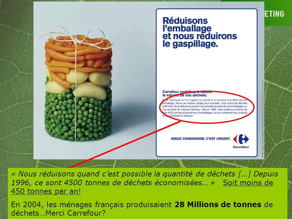 « Nous réduisons quand c'est possible la quantité de déchets […] Depuis 1996, ce sont 4500 tonnes de déchets économisées… » Soit moins de 450 tonnes par an!